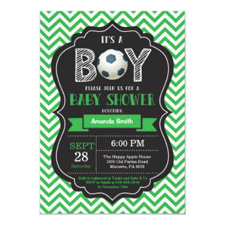 Carte Vert Chevron d'invitation de baby shower du