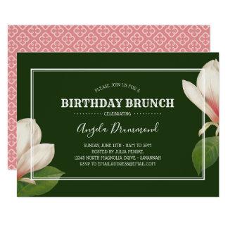 Carte Vert de brunch d'anniversaire de magnolia du sud
