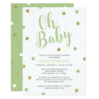 Carte Vert et baby shower de parties scintillantes d'or