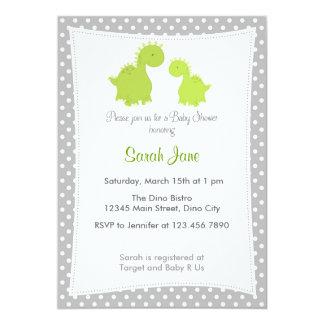 Carte Vert gris de dinosaure mignon d'invitation de baby