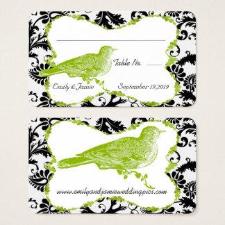 Carte vert pomme et noire d'oiseau vintage de