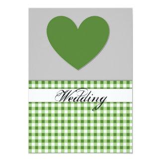 Carte verte de faire-part de mariage de coeur de carton d'invitation  12,7 cm x 17,78 cm