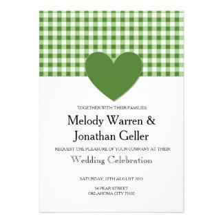 Carte verte de faire-part de mariage de coeur de