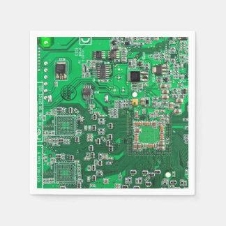 Carte verte de geek d'ordinateur serviettes jetables