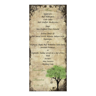 Carte verte de menu de mariage de cage à oiseaux carton d'invitation  10,16 cm x 23,49 cm