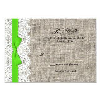 Carte verte de réponse de mariage d'arc et de faire-part personnalisés