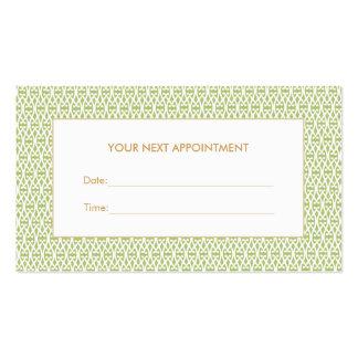 Carte verte élégante de rendez-vous de salon de carte de visite standard