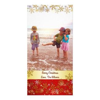 Carte Verticale rouge de Noël de flocons de neige d'or