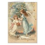 Carte victorienne d'ange de Noël