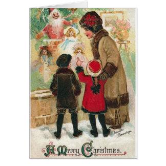 Carte victorienne de lèche-vitrines de Noël