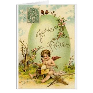Carte victorienne de Pâques Joyeuses Pâques de