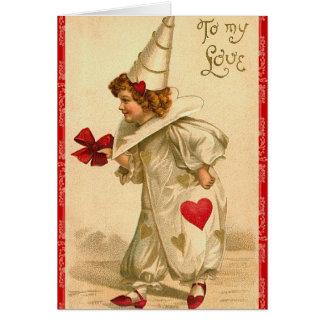 Carte victorienne de Saint-Valentin de clown