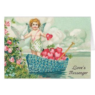 Carte victorienne de Saint-Valentin de cupidon
