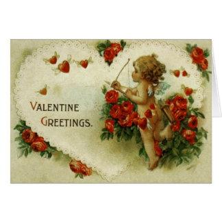 Carte victorienne de Saint-Valentin de cupidon et