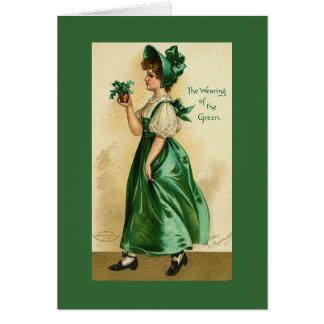 Carte victorienne vintage de jour de Madame St Pat