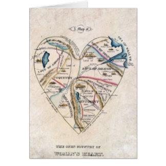 Carte victorienne vintage du coeur d'une femme