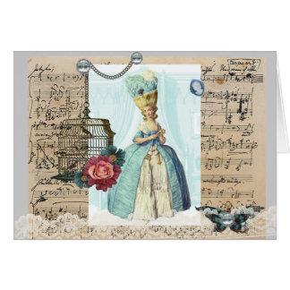 Carte vierge bleue de Marie Antoinette