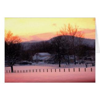 Carte vierge de coucher du soleil d'hiver