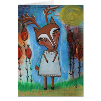 Carte vierge de fille de cerfs communs