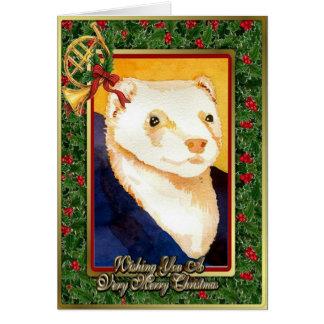 Carte vierge de Noël de furet