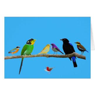 carte vierge de note avec des oiseaux et la