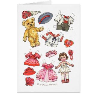 Carte vierge de note de poupée et de nounours