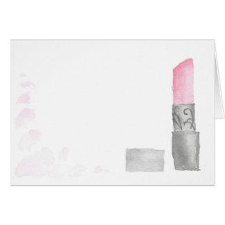 Carte vierge de note de rouge à lèvres d'aquarelle