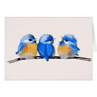 Carte vierge de note de trois oiseaux bleus