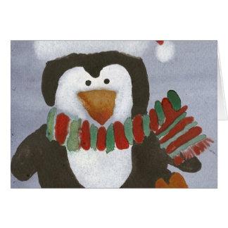 Carte vierge de pingouin d'hiver