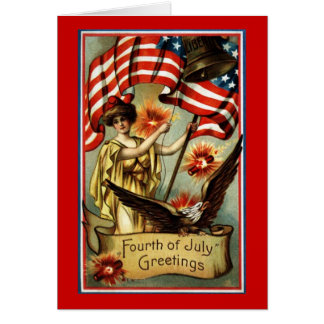 Carte vierge de salutations de cru 4 juillet