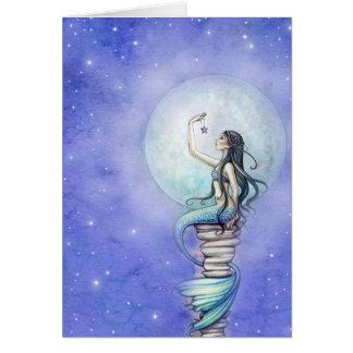 Carte vierge de sirène magique de nuit étoilée