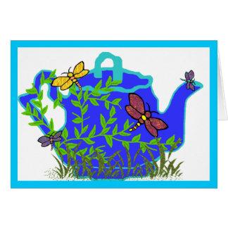 Carte vierge de théière de libellule