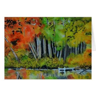 Carte vierge d'étang d'automne de la Nouvelle