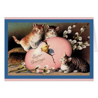 Carte vintage d'art de chatons de Pâques