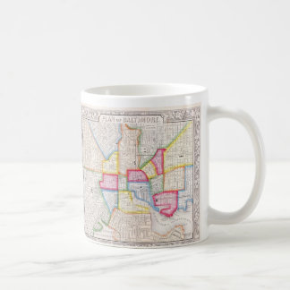 Carte vintage de Baltimore du centre (1860) Mug