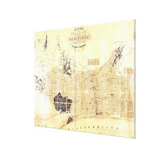 Carte vintage de Barcelone Espagne (1859) Toiles