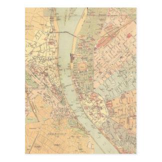 Carte vintage de Budapest Hongrie (1884)