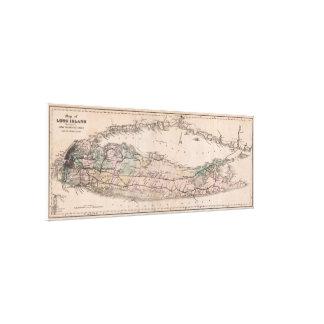 Carte vintage de chemin de fer du Long Island NY Toiles