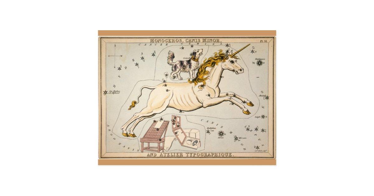 carte vintage de constellation d 39 toile de licorne carte postale zazzle. Black Bedroom Furniture Sets. Home Design Ideas