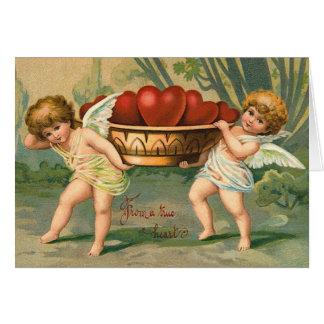 Carte vintage de cupidon de Valentine