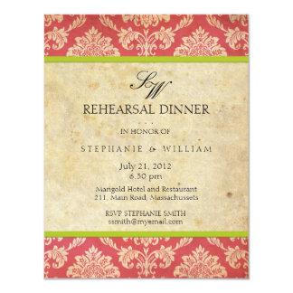 Carte vintage de dîner de répétition de monogramme carton d'invitation 10,79 cm x 13,97 cm