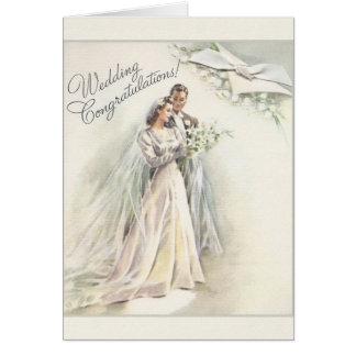 Carte vintage de félicitations de mariage