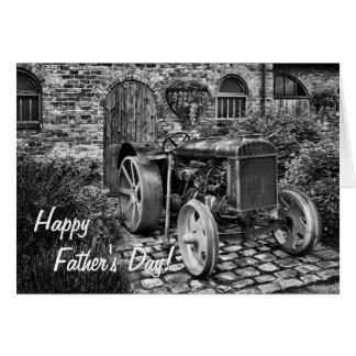 Carte vintage de fête des pères de tracteur