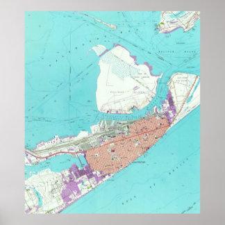 Carte vintage de Galveston le Texas (1954) Poster