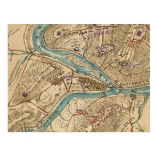 Carte vintage de guerre civile de ferry de
