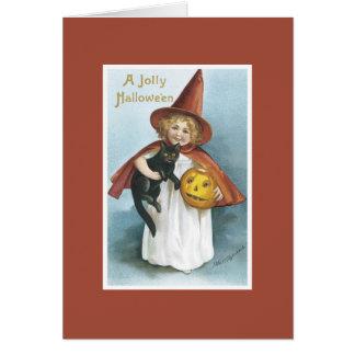 Carte vintage de Halloween de chat noir de