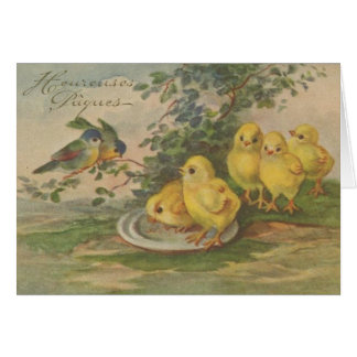 Carte vintage de Heureuses Pâques Pâques de