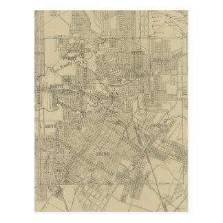 Carte vintage de Houston du centre (1913)
