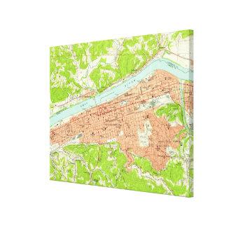 Carte vintage de Huntington la Virginie Toile