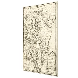 Carte vintage de la baie de chesapeake (1752) toiles